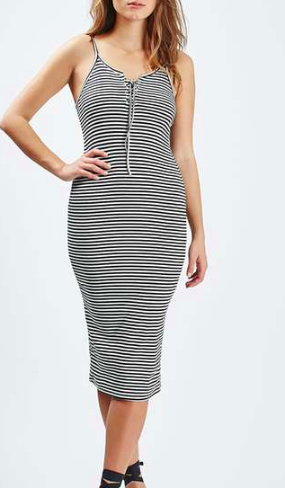 Topshop Striped Lace-Up Midi Dress