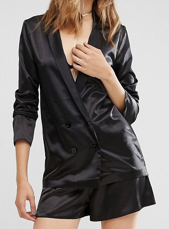 Missguided Premium Satin Double Breasted Blazer