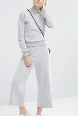 ASOS PETITE Fluffy Sweat Culotte Pant Co-ord