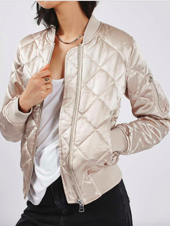 Topshop Quilted Shiny MA1 Bomber Jacket