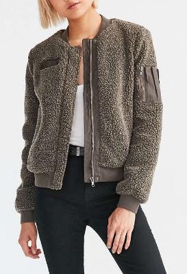 BDG Cozy Teddy Bomber Jacket