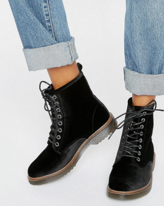 New Look Velvet Lace Up Ankle Boots