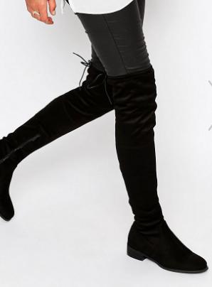 Public Desire Black Flat Tie Back Over The Knee Boot