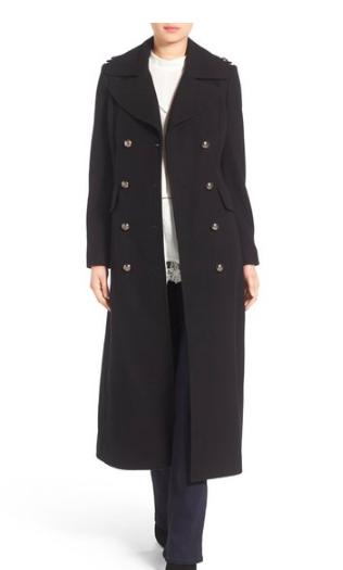Long Wool Blend Military Coat BCBGENERATION