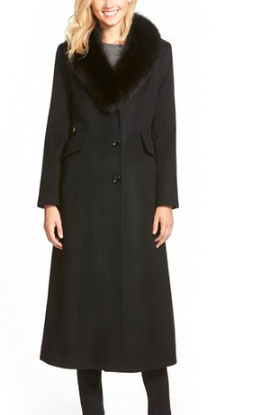 Genuine Fox Fur Shawl Collar Long Wool Blend Coat SACHI