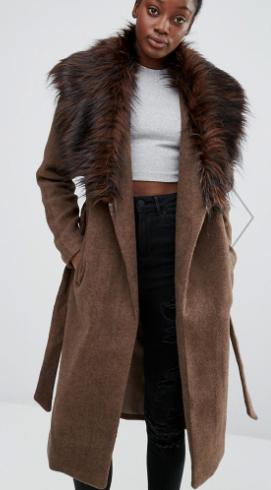 Only Drape Faux Fur Collar Coat