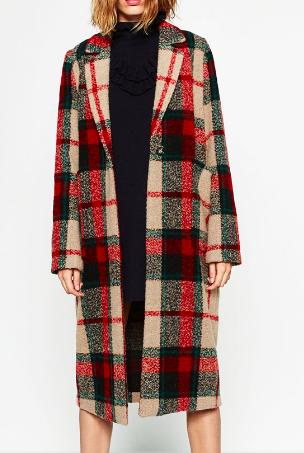 Zara long check coat