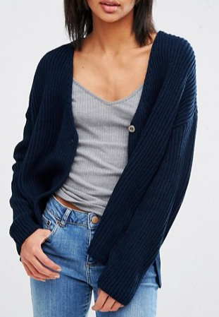 ASOS Cardigan In Double Breasted Shape