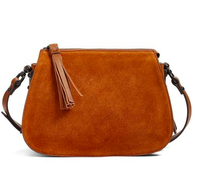 Phase 3 Double Gusset Suede Crossbody Bag