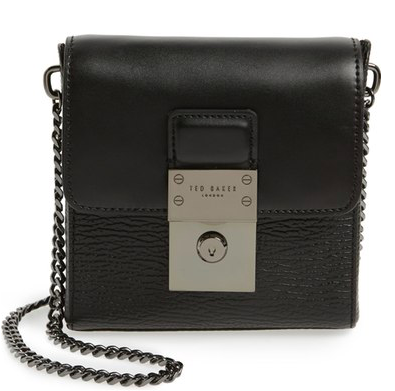 Ted Baker London 'Small Luggage Lock - Maj' Leather Crossbody Bag