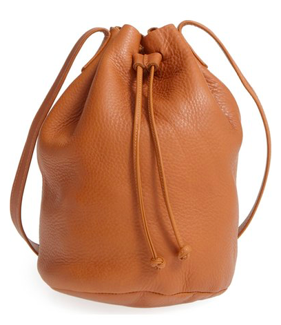 Baggu Pebbled Leather Bucket Bag