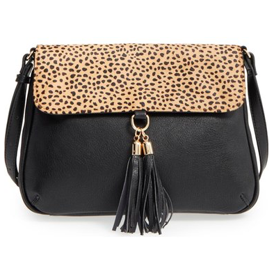 Sole Society 'Noble' Faux Leather & Genuine Calf Hair Shoulder/Crossbody Bag