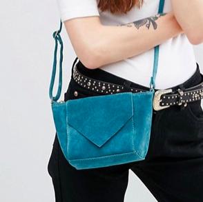ASOS Suede Festival Cross Body Bag With V Flap