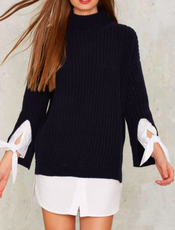 Sleeve Early Ribbed Sweater