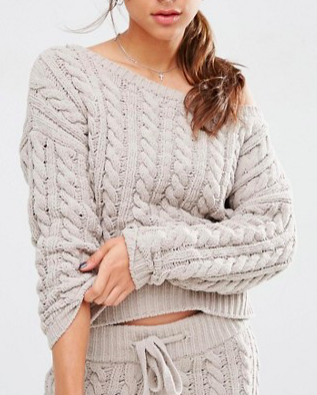 ASOS Lounge Cable Sweater in Chenille