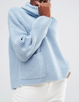 Monki Roll Neck Sweater With Pocket Detail