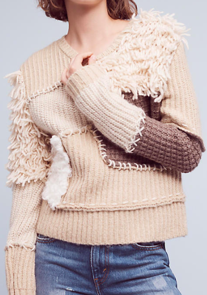 Fringed Patchwork Pullover