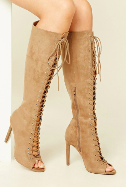 Forever 21 Faux Suede Knee-High Stilettos