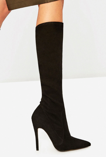 ZARA LEATHER STILETTO HEEL BOOTS