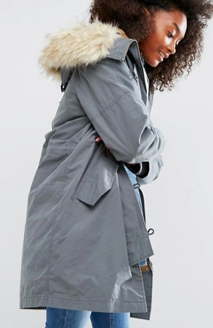 ASOS Parka with MA1 Styling and Removable Fur Liner