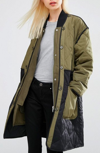 ASOS 2 In 1 Parka with Color Block in Quilt