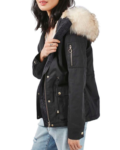 Trevor Parka with Faux Fur Trim Hood  TOPSHOP