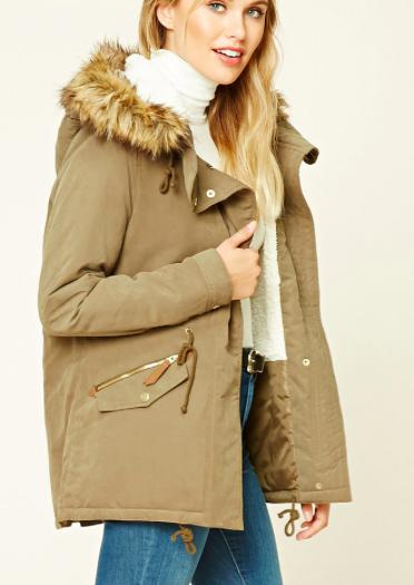 Forever21 Faux Fur-Trimmed Utility Jacket