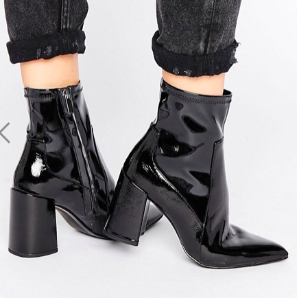 Mango Patent Point Block Heel Ankle Boot