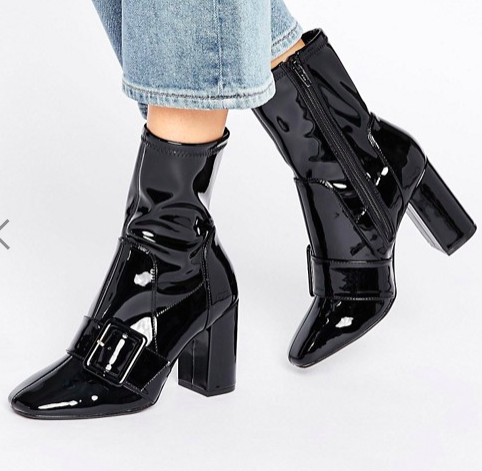 River Island Patent Buckle Sock Boot