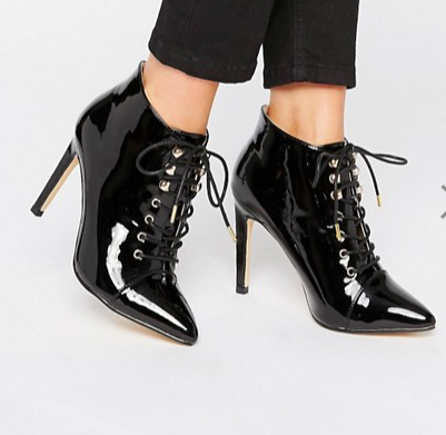 Truffle Collection Patent Pointed Toe Lace Up Heeled Boots