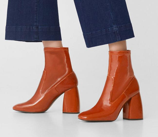 mango patent sock boot
