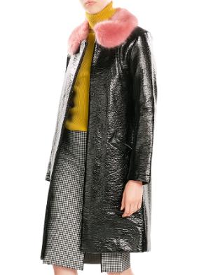 SHRIMPS  Hokus Patent Coat with Faux Fur Collar