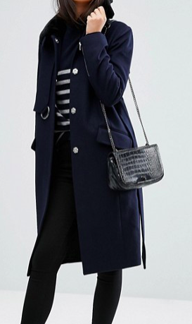 ASOS Coat with Faux Fur Collar and Belt In Wool Mix