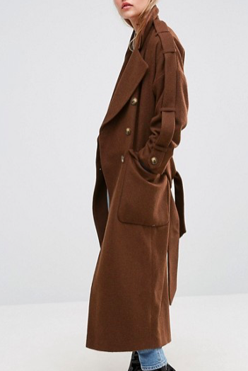 ASOS Wool Trench Coat with Epaulette Detail