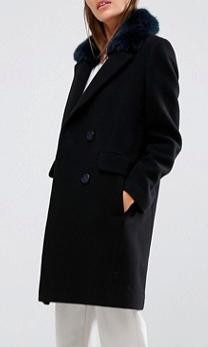 Whistles Erika Coat with Faux Fur Collar