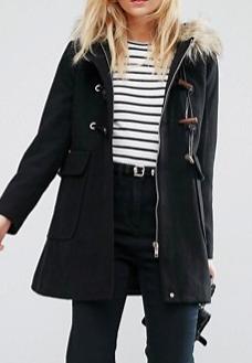 ASOS PETITE Wool Blend Faux Fur Hooded Duffle Coat