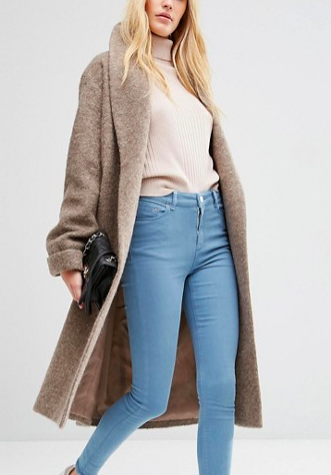 ASOS Oversized Knitted Coat in Wool Blend With Shawl Collar