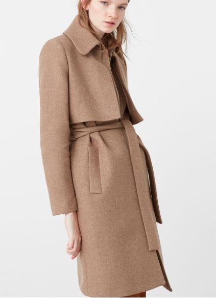 MANGO Belt wool coat