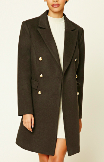 FOREVER 21 MILITARY WOOL COAT