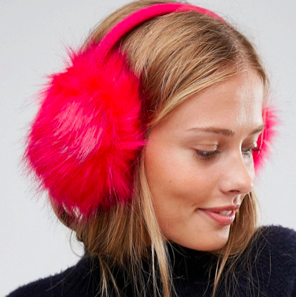ASOS Faux Fur Bright Pink Earmuffs