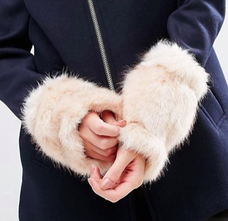 ASOS Pink Long Faux Fur Cuffs