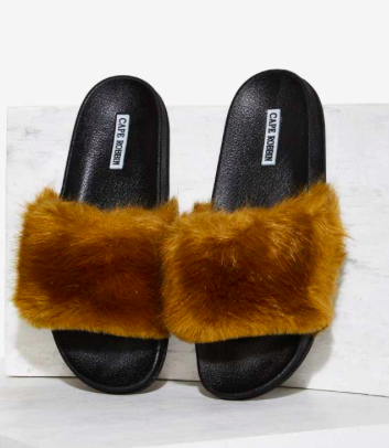 Easy Touch Faux Fur Slide Sandal - Olive