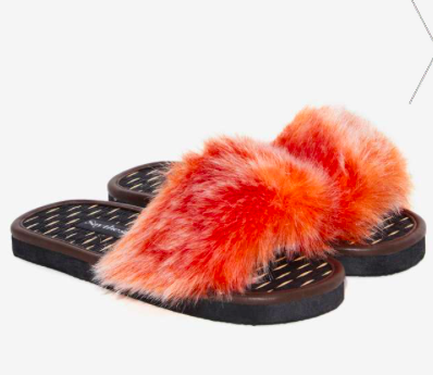 Say The Sun Pop Faux Fur Slide Sandal