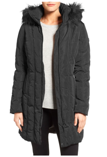 Down & Feather Fill Coat with Faux Fur Trim Hood  CALVIN KLEINDown & Feather Fill Coat with Faux Fur Trim Hood  CALVIN KLEIN