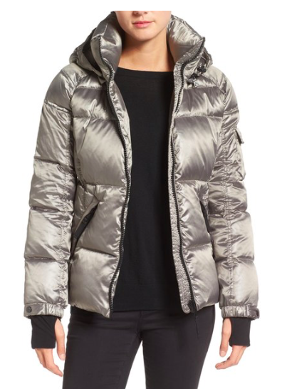 S13 'Kylie' Metallic Quilted Jacket with Removable Hood  S13/NYC