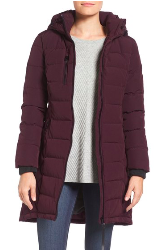 Quilted Hooded Puffer Coat  GUESS