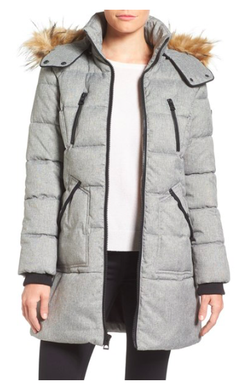Expedition' Quilted Parka with Faux Fur Trim  GUESS