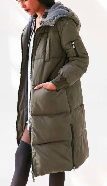 Silence + Noise Duvet Quilted Longline Puffer Coat
