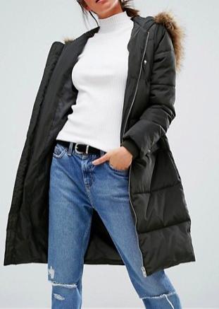 New Look Faux Fur Padded Maxi Coat