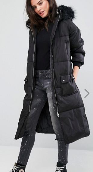 New Look Petite Faux Fur Hood Padded Coat